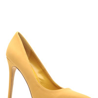Tan Faux Nubuck Pointy Toe Classic Pumps