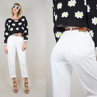 RALPH LAUREN 80's white High waist SKINNY jeans pants classic Minimalist stretchy Crop