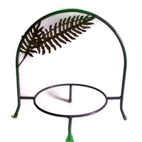 Vintage Plate Holder Tabletop Stand Metal with Cut Out Ferns, Dessert Server, Wedding Decor