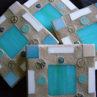 Turquoise Stained Glass Coasters with Peace Signs,  Stained Glass, Coasters, Peace Signs, Home Decor