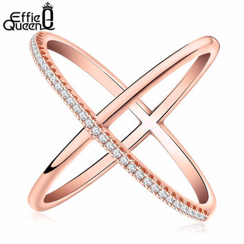 Effie Queen New Big Cross Shape Zircon Ring Fashion Female Jewelry Infinity Sign Women Rings for Party free Shipping DR66