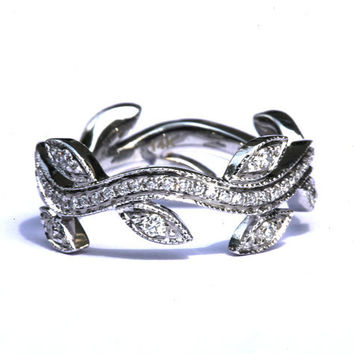 Leaf Eternity WEDDING BAND with Milgrain - Flower - Diamond -  Vine - Right Hand  Ring - 18K white gold   - fL07