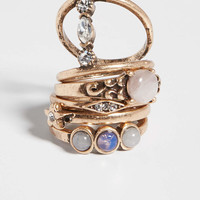 set of 5 goldtone rings with semi-precious stones | maurices