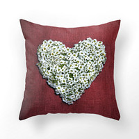 Red heart pillow from white flowers, DECORATIVE THROW PILLOW cover, white heart shape on red pillow design, lovely home decor