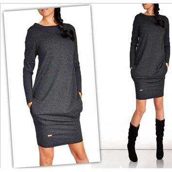 Women Full Sleeves Casual Jersey Fit Dress With Hidden Side Pockets