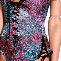 Malta Boutique Lace Up Front And Side Swimsuit