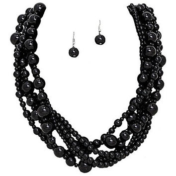 Romantic 6 Strand Onyx Black Glass Pearl Necklace with Matching Drop Earrings Bridal Bridesmaid Wedding
