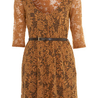 Petites Ochre Lace Dress - Petites - New In - Miss Selfridge