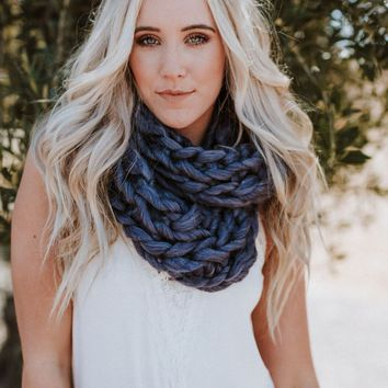 East Coast Knitted Infinity Scarf - Purple
