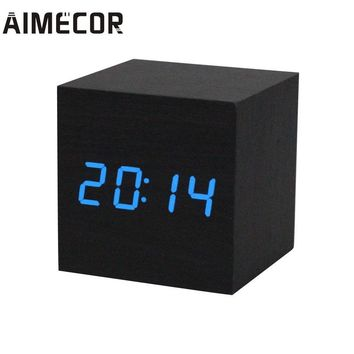 Aimecor acoustic control sensing 1PC Digital LED Black Wooden Wood Desk Alarm Brown Clock Voice Control p61219 DROP SHIP