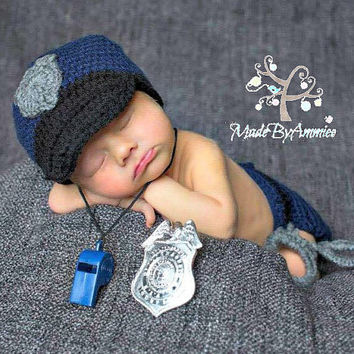 Crochet Police Officer Baby Infant Outfit, Crochet First Responder Outfit,  Baby Police Officer Photo Prop