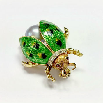 Vintage 18k Gold Bug Pin Beetle Pin Diamond Collar Ruby Eyes Green Enamel with Black and Yellow Spots Large Lavender Pearl Fantastic!