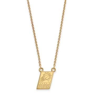 NBA 14k Gold Plated Silver Phoenix Suns Sm Pendant Necklace, 18 Inch
