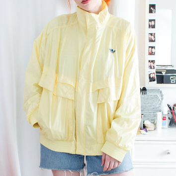RAR 80s Adidas Dassler Original West Germany Yellow Trefoil Vintage Oversized Track Jacket Retro Sport Tennis Pastel Kitsch 90s Rave Anorak