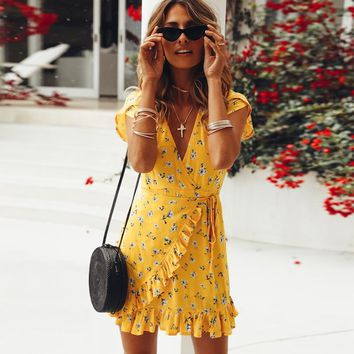 Ruffle Floral Print Casual Yellow Summer Dress