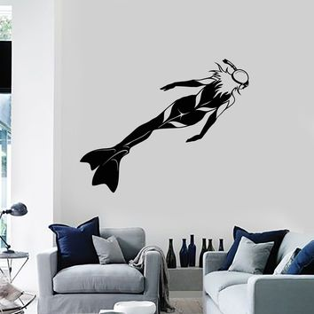 Vinyl Wall Decal Scuba Diving Underwater Diver Club Girl Woman Decor Art Stickers Mural (ig5598)