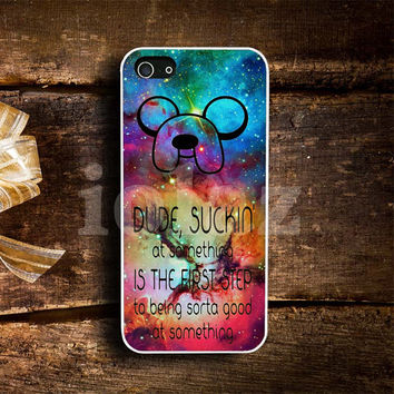 Galaxy Nebula Adventure Time Quotes Design mobile Phone case
