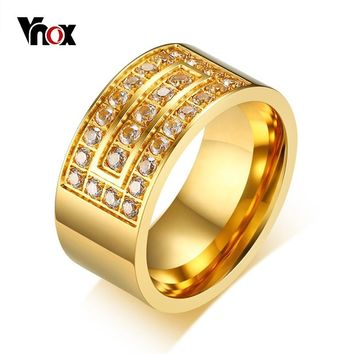 Vnox 10mm Chunky Bulky Gold Color Ring for Men Stainless Steel AAA Cubic Zirconia Fraternal Rings Punk Male Jewelry