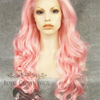 "26 inch Heat Safe Synthetic Lace Front in Curly Texture ""Calypso"" in Pink"