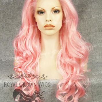 """26"""" Heat Safe Synthetic Lace Front in Curly Texture """"Calypso"""" in Pink"""