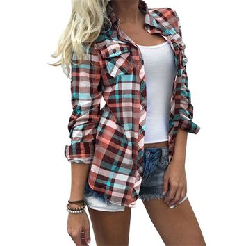 Women Colorful Plaid Printed Pocket Blouse Turn-Down Collar Shirt 2017 Autumn Full Long Sleeve Casual Tops Pretty Pockets Tops