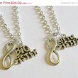 Summer Sale Save15% 2 Sisters Infinity Necklaces Big and Little Sister