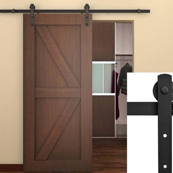 New 6.6 FT Black Modern Antique Style Sliding Barn Wood Door Hardware Closet D79