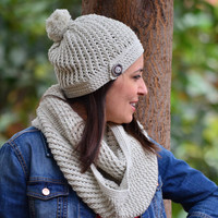 Infinity scarf and hat set, pom pom hat, crochet cowl, beige cotton scarf, crochet beanie cotton, fall accessories, circle scarf, women gift