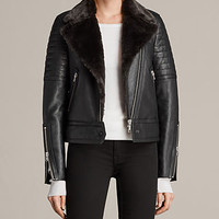 ALLSAINTS US: Womens Perkins Lux Biker Jacket (BLACK/MAGMA GREY)