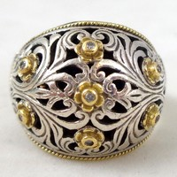 Estate KONSTANTINO Sterling Silver 18K Diamond Rosettes Filigree Ring Sz 11.5