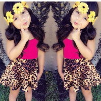 Girls Summer Leopard Print Skirt + Red Sleeveless Shirt