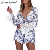 Blue porcelain print lace elegant jumpsuit romper Summer style backless sexy playsuit Women long sleeve overalls