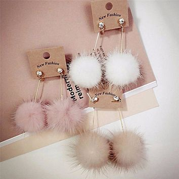 Rabbit Fur Ball Pom Pom Dangle Earrings with Crystal Studs