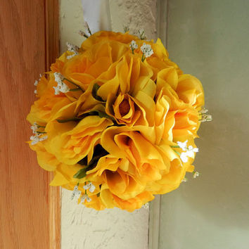Yellow Roses and Baby's breath wedding kissing ball/ Pomander