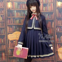 Japanese School Student JK Uniform Style 2pcs Set: Winter Short Coat Golden Trim + Jumper Pleated Dress Navy Blue with Bow Cute