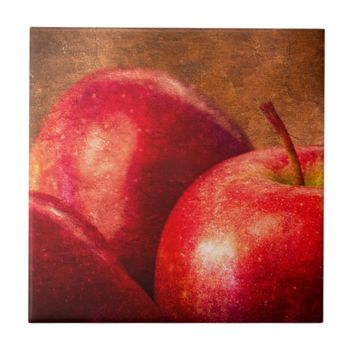 Three Red Apples Tile