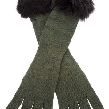 Ralph Lauren Blue fur trim glove