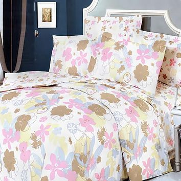 Pink Brown Flowers 100% Cotton 4PC Duvet Cover Set King Size