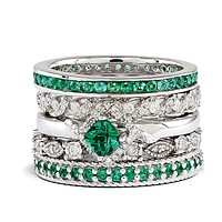 Sterling Silver & Created Emerald Stackable Paradise Ring Set