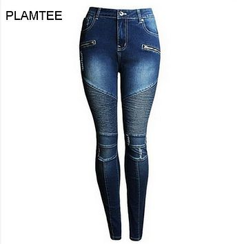 2017 Skinny Pleated Holes Pencil Denim Jeans Women Spring Fashion Solid Low Waist Fake Zippers Trousers Female Plus Size S~2XL