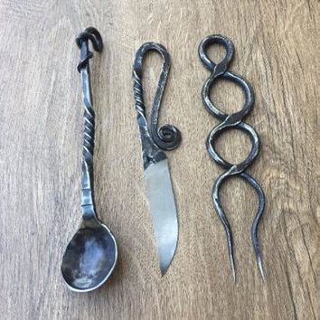 Viking cutlery set, rustic cutlery, medieval kitchen, medieval cutlery, viking, rustic kitchen,forged fork, viking decor, BBQ decor, viking
