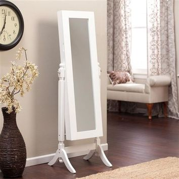 White Full Length Tilting Cheval Style Floor Mirror with Jewelry Storage