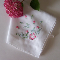 Wedding Handkerchief Something Old Bride's Hanky with Pink and Blue Floral Design