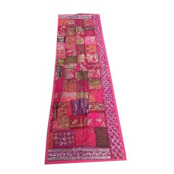 Mogul Vintage Spanish Table Runner Pink Zari Sequin Embroidery Patchwork Table Tapestry 90 inch - Walmart.com