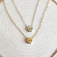 Tiny, Cute Skull Charms for Layering with Dainty, 14k Gold Fill or Sterling Silver Chain, Gifts Under 20, Halloween Charm Necklace, Skulls