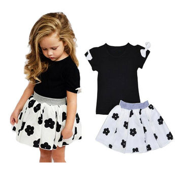 Baby Toddler Girls Black and White Bows and Flower 2 Pc Skirt and Top Dress Set 3T to 7Yr