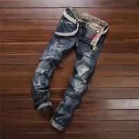 Design Vintage Strong Character Ripped Holes Men's Fashion Pants Jeans [6541737603]