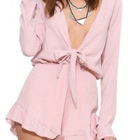 Pink Plunging V-Neckline Lace Up Ruffled Hem Romper