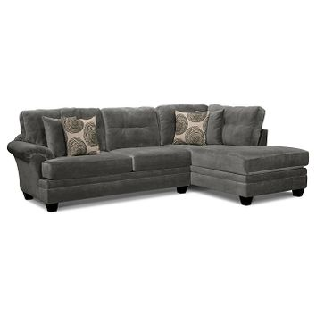 Cordoba Gray II Upholstery 2 Pc. Sectional and Cocktail Ottoman