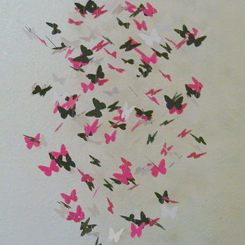 Beautiful hot pink black and white butterfly mobile crib mobile teen room